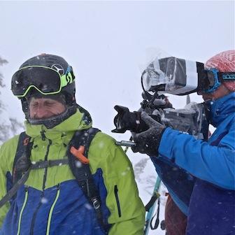Filming snowy tracks